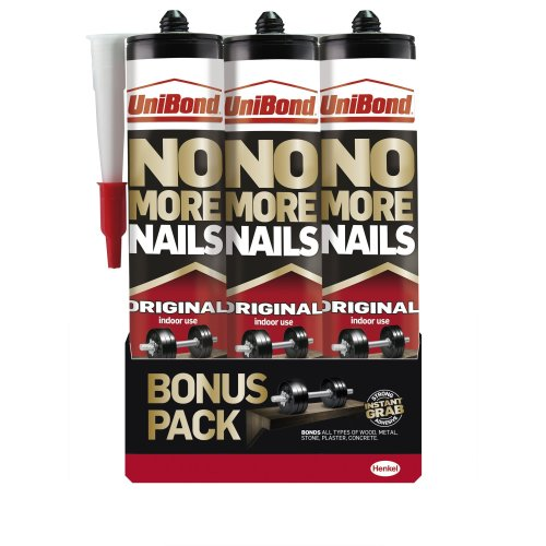 UniBond No More Nails Original High Strength Grab Adhesive / Universal adhesive for lasting results on wood, metal, brick, ceramic and other / 3 x...
