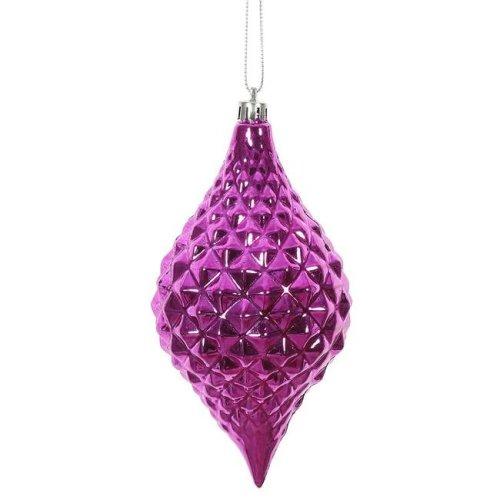 Vickerman N174970D 6 x 3 in. Fuchsia Shiny Diamond Drop Ornament - 4 per Bag