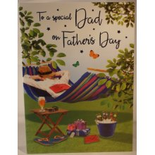 To A Special Dad On Father's Day card 23cm x 16cm hammock