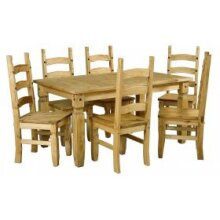 """Corona 6'0"""" Dining Table & 6 Chairs Solid Pine Furniture"""