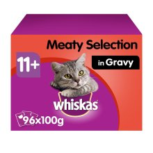 96 x 100g Whiskas 11+ Super Senior Wet Cat Food Pouches Mixed Meaty in Gravy