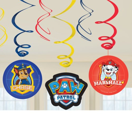 Paw Patrol Hanging Swirl Decorations 6pk