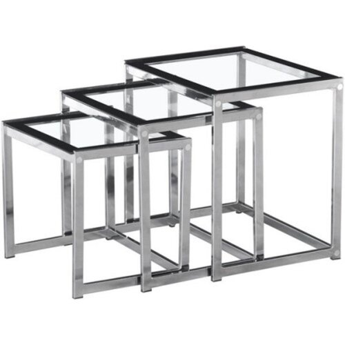 Seconique Henley Nest of 3 Tables - Clear Glass with Black Border