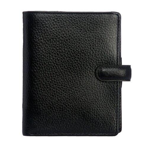 Filofax Finsbury Pocket Organiser Black Grained Leather Cover 6 Ring Mechanism