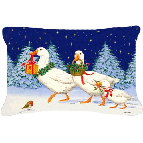 Three Geese & Gifts Fabric Decorative Pillow