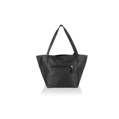 """Woodland Leather Black Tote Shopping Bag 20.0"""" Central Zip Carry Handle"""