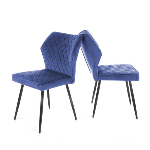 (Navy) 2pk Lightweight Soft Velvet Dining Chairs