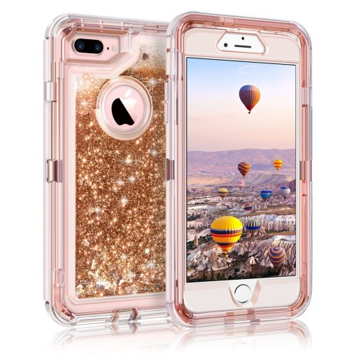 Coolden iPhone 8 Plus Case, Heavy Duty Shockproof iPhone 7 Plus Case Glitter Floating Bling Shiny Sparkle Quicksand Liquid Clear Bumper Protective...