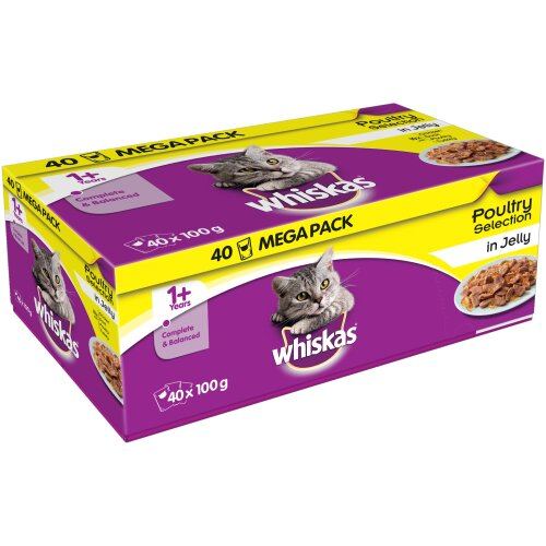 Whiskas 1+ Poultry Selection In Jelly Wet Cat Pouches - 40 x 100g Pouches