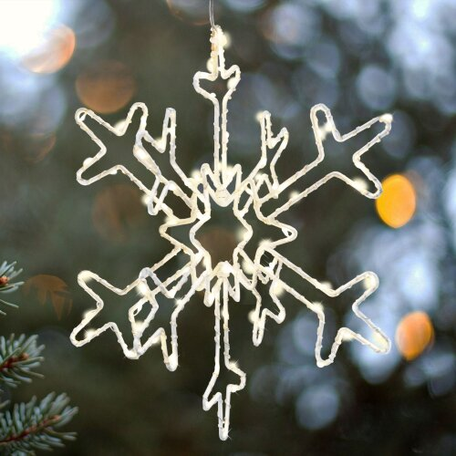 White Metal Frame 3D Snowflake Christmas Decoration With Warm White Copper Wire LEDs 30cm Hanging Festive Decoration Xmas