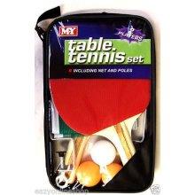 2 PLAYER TABLE TENNIS PING PONG SET BATS 3 BALLS NET POLE SET FUN SPORTS INDOOR