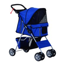 PawHut Pet Stroller Carrier Foldable Deluxe Jogger Walk Travel Dog Cat 4 Wheels