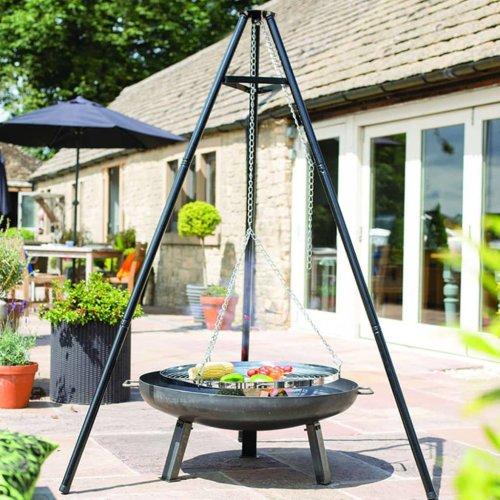 vidaXL BBGRILL Black Tripod BBQ Grill (106cm)