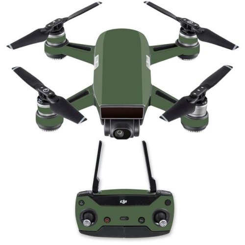 Mightyskins DJSPCMB-Solid Olive Skin Decal for DJI Spark Mini Drone Combo Sticker - Solid Olive