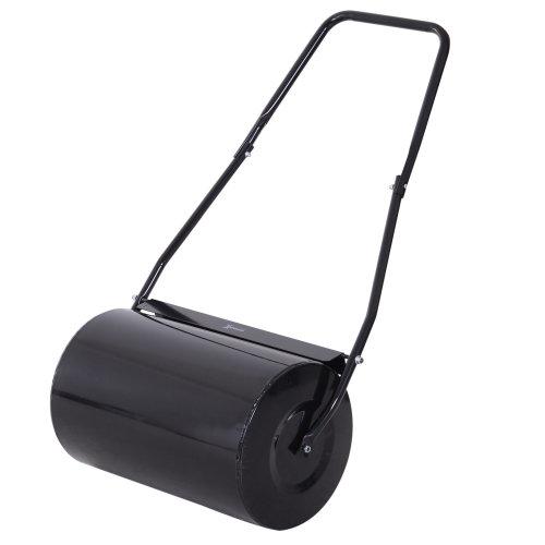 DURHAND 38L Heavy Duty Water or Sand Filled Garden Steel Lawn Roller Drum Φ50cm Black