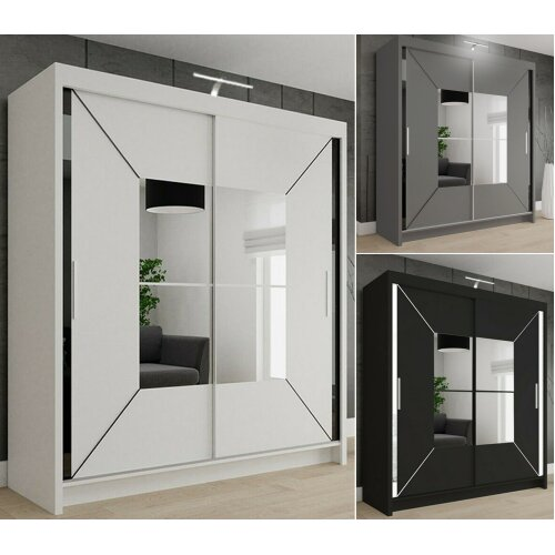 Nicole Double Sliding Door Wardrobe | Mirrored Wardrobe With Light