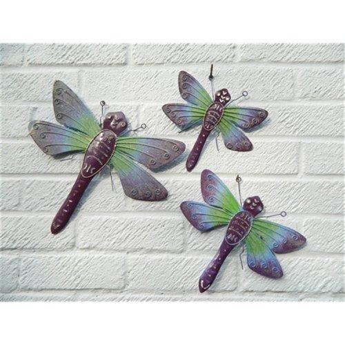 Metal Dragonfly Wall Art Ornaments Dragonflies Set of 3 Purple