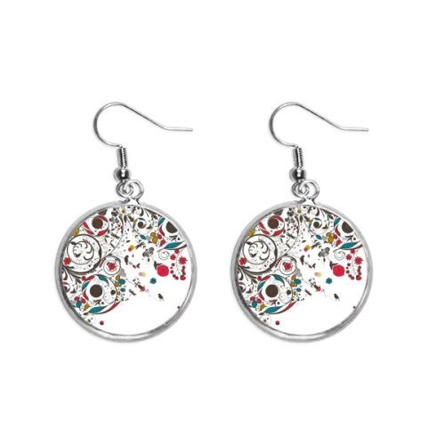 Modern Art Illustration Flowers Plants Ear Dangle Silver Drop Earring Jewelry Woman