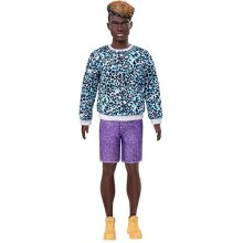 âBarbie Ken Fashionistas Doll #153 With Sculpted Dreadlocks Wearing Blue Animal-Print Shirt, Purple Shorts & Boots, Toy For Kids 3 To 8 Years Old
