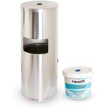NeatFi Floor Standing Stainless Steel Gym Wipe Dispenser