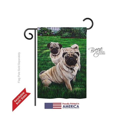 Breeze Decor 60006 Pets Pugs Love 2-Sided Impression Garden Flag - 13 x 18.5 in.