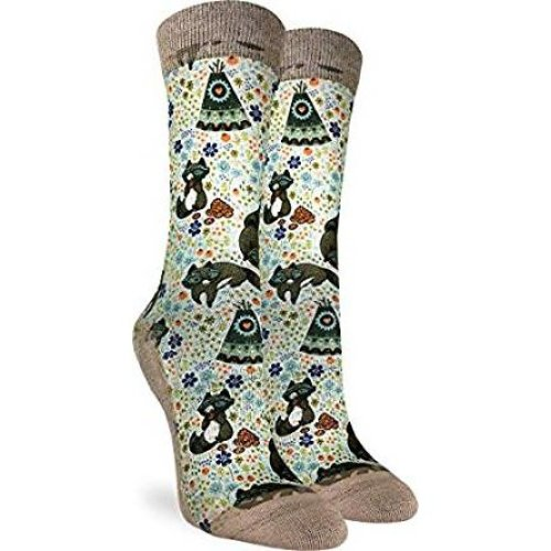 Socks - Good Luck Sock - Women's Active Fit - Happy Racoons (5-9) 5127