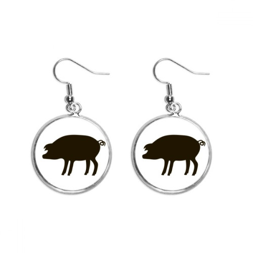 Black Pig Animal Portrayal Ear Dangle Silver Drop Earring Jewelry Woman