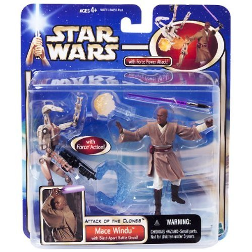 Star Wars Attack of the Clones Mace Windu with Blast-Apart Battle Droid 3.75 Inch Action Figures