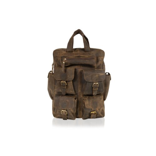 "Woodland Leather Brown 18.0"" Back Pack Top Carry Handle 4 Front Multi Pocket Side Pockets Adjustable Shoulder Straps"