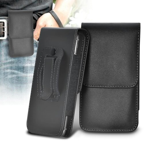 Samsung Galaxy A41 Black XXLarge Vertical Faux Leather Belt Holster Pouch Cover Case