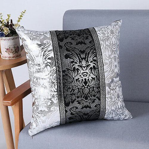 (#3) Modern Luxury Black&Silver Throw Pillow Case Cushion Cover Home Sofa Decoration