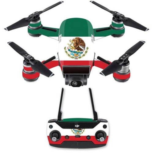 MightySkins DJSPCMB-Mexican Flag Skin Decal for DJI Spark Mini Drone Combo Sticker - Mexican Flag