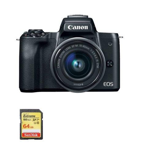 CANON EOS M50 Black KIT  15-45mm Black + SanDisk Extreme 64G SD card