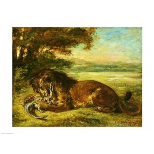 Posterazzi BALXKH144526 Lion & Alligator 1863 Poster Print by Eugene Delacroix - 24 x 18 in.