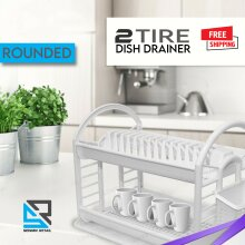 2 Tier Round Plastic Dish Drainer Bowl Plate Rack Cutlery Holder