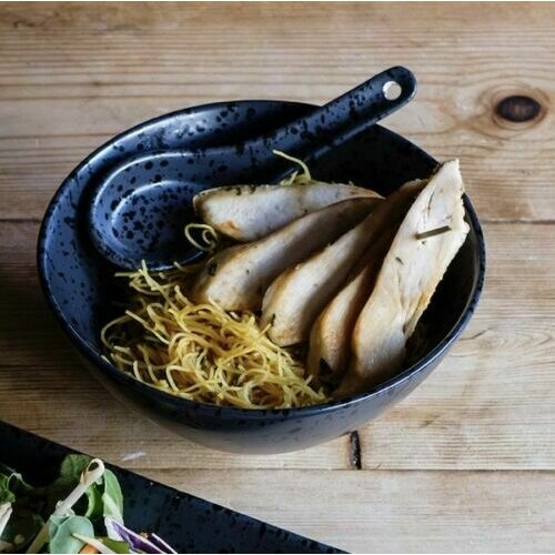Black Oriental Chinese Rice Soup Bowl & Spoon Set 14cm