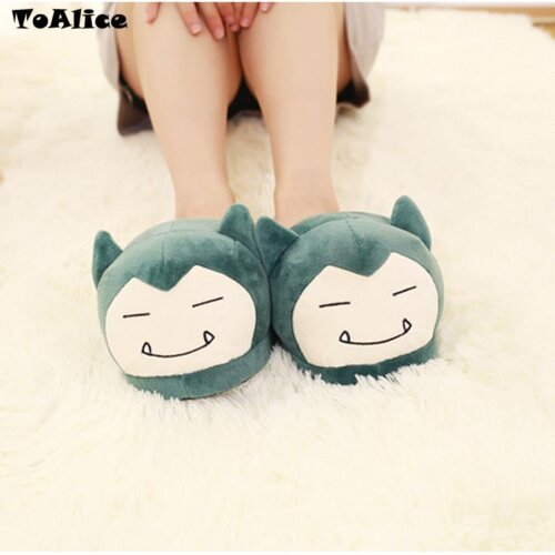 Anime Pocket Monsters, Plush Slippers, Women, Men, Indoor Warm Fluffy Shoes