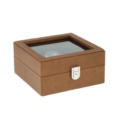 Brown Genuine Leather 4 Watch + 8 Pair Cufflink Collectors Box Brown Velvet Lining by Aevitas