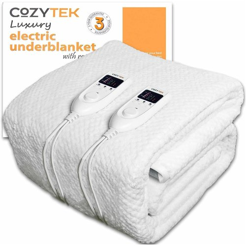 Cozytek Double Electric Blanket Dual Control Double Bed Full Size 193 x 137cm Fully Fitted Heated Fleece Underblanket with Timer