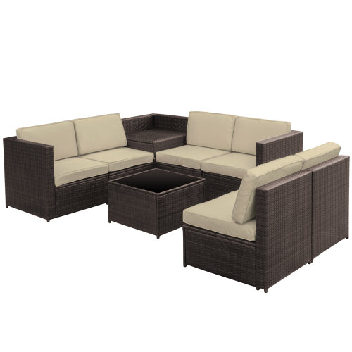 Outsunny 8Pcs Patio Rattan Sofa Set Garden Furniture Coffee Side Table w/Cushion