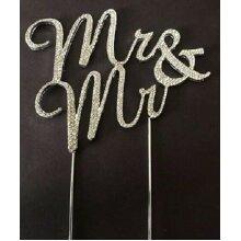 BIG SILVER GAY GROOM MR AND MR CIVIL WEDDING CEREMONY CAKE TOPPER & DECORATION