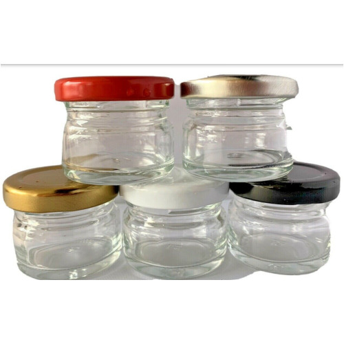 25ml.SMALL GLASS SAMPLE CLEAR JARS WITH SCREW TOP LID WEDDING,HONEY