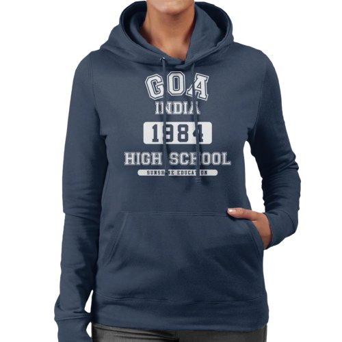 (Large, Navy Blue) Goa India High School Women's Hooded Sweatshirt