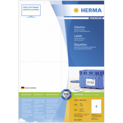 Herma Premium Labels 105x148 200 Sheets DIN A4 800 pcs. 4627