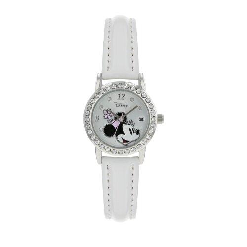 Disney Minnie Mouse Girls Silver Case White Gloss Strap Watch