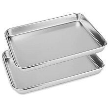 2x Stainless Steel Polished Baking Trays 23cm