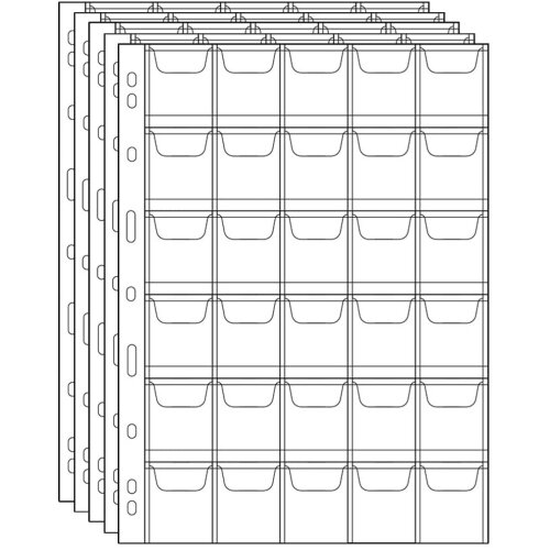 Uncle Paul Coin Collecting Pages - 5 Sheets 30 Pockets Standard 9-Hole Coin Pocket Inserts Collecting Sleeves for Coins CS03-5-30 Series