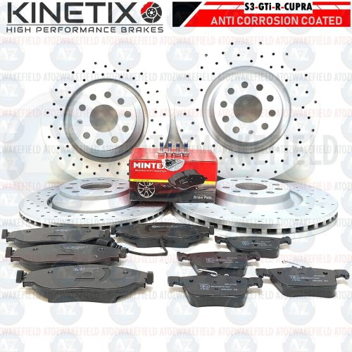 FOR VW GOLF GTi CLUBSPORT FRONT REAR DRILLED PERFORMANCE BRAKE DISCS MINTEX PADS