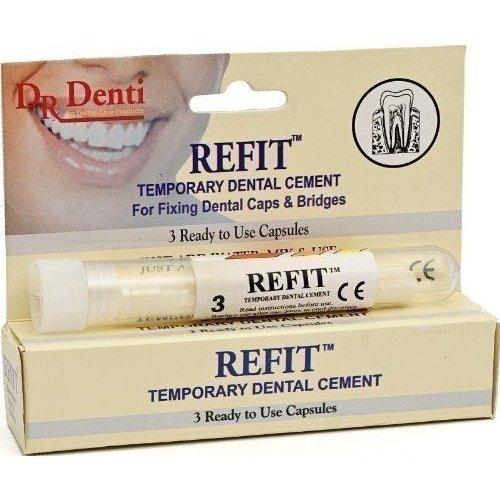Dr Denti Refit Temporary Dental Cement For Caps & Bridges - 3 Capsules