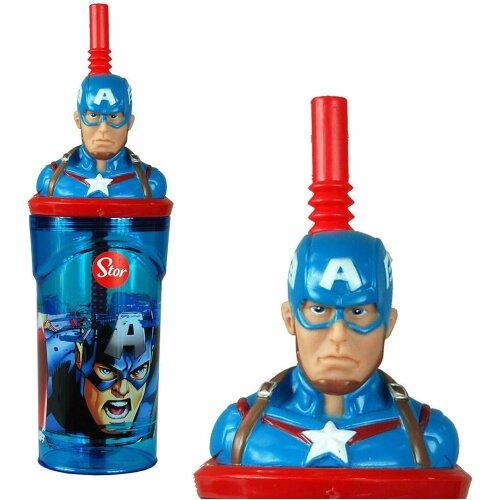 Captain America-Avengers 3D Figurine 360ML Drinking Tumbler Bottle & Straw